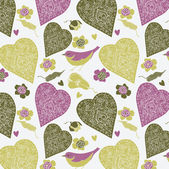 Colorful hearts and cute bird. seamless pattern — Stock Vector