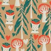 Cute owls in the forest. seamless pattern — Vecteur
