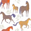 Royalty-Free Stock Vector Image: Wild horses. seamless pattern