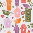 Cute colorful birdhouses with birds. seamless pattern — Stock Vector