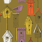Colorful birdhouses. seamless pattern — Stock Vector