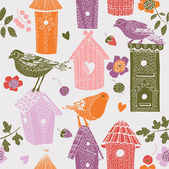 Hübsch bunten vogelhäuschen mit vögeln. nahtlose muster — Stockvektor