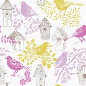 Birdhouses och fåglar — Stockvektor