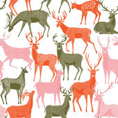 Decorative seamless pattern with deers — Stock Vector