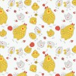 Hens and chickens. Easter seamless pattern — Stock Vector