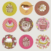 Various colorful cakes pattern — Stock Vector
