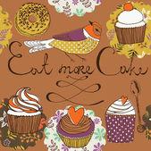 吃更多的蛋糕 — 图库矢量图片