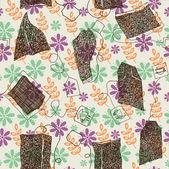 Tea bags. seamless pattern — Stock Vector