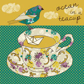 Ocean in a teacup — Stock Vector