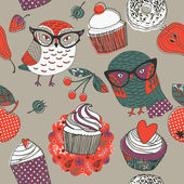 Cute owls with assorted cakes and fruits — Vecteur