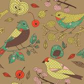 Garden birds deco tile — Stock Vector