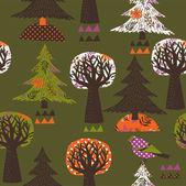 Modello senza soluzione di continuità degli alberi nei boschi colorati — Vettoriale Stock