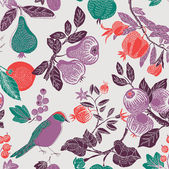 фруктовый сад с птицей. бесшовный фон — Cтоковый вектор