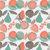 Fruit garden with bird. seamless pattern — Stock Vector