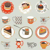 Seamless pattern with cups — Stock Vector