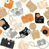 Vintage photo cameras. seamless pattern — Stock Vector