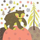Jul björnen sömlös kakel — Stockvektor