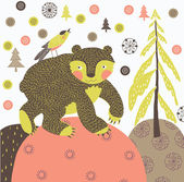 クリスマスのクマのシームレスなタイル — ストックベクタ