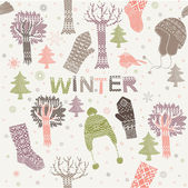 Winter seamless pattern with hats, mittens and socks — Stock Vector