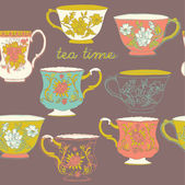 Patrón sin costuras de té — Vector de stock