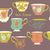 Tea seamless pattern — Stock Vector