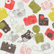 Stock Vector: Vintage photo cameras. seamless pattern