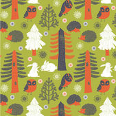 Woodland animals background — Stok Vektör
