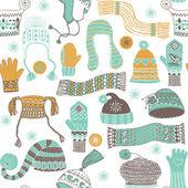 冬 woollies のシームレスなパターン — ストックベクタ