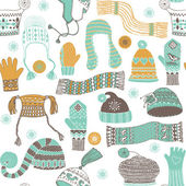 Seamless pattern of winter woollies — Stok Vektör