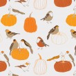 Autumn pumpkins and garden birds - Stok Vektör
