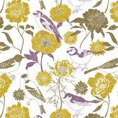 Fleurs et oiseaux de jardins — Vecteur