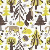 Hábitat y animales del bosque — Vector de stock