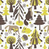 林地动物和人居中心 — 图库矢量图片