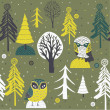 Christmas Forest with Cute Owls — Stock Vector