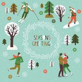 Seasons Greetings Print Design — Stock Vector