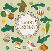Seasons Greetings Print Design — Stock Vector