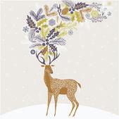 Christmas Deer Greeting Card — Stock Vector