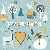 Seasons Greetings Card — Stock Vector