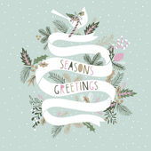 Seasons Greetings Card Design — Stok Vektör