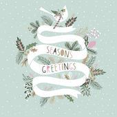 Seasons Greetings Card Design — Stock Vector