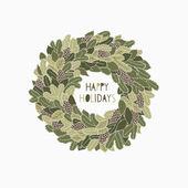 Greeting card with a festive wreath — Vecteur