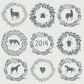 Happy new year 2014! Year of horse — Stock Vector