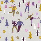 Ice skaters enjoying the winter festive season — Stock Vector