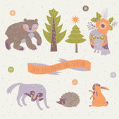 Vector set of cute wild animals in the winter forest — Stock Vector
