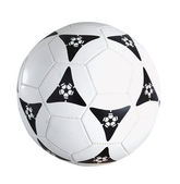 Single soccer ball isolated on plain background — Stock Photo