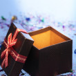 Asian design gift box with ribbon bow — Stock Photo