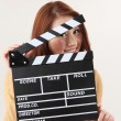 Girl with Movie Slate — Stock Photo