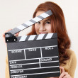 Girl with Movie Slate — Stockfoto