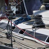 Italy, Sicily, Mediterranean Sea, Marzamemi (Siracusa Province), sailing boats in a marina — Stock Photo