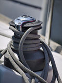 Italy, Sicily, Mediterranean Sea, nautical cable on a sailing boat — Stock Photo